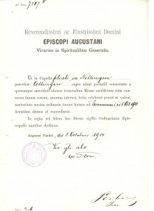Urkunde von 1901 über die Erlaubnis zur Messfeier in Nittingen