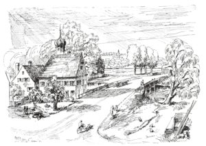 Tuschezeichnung mit Leonhardskapelle und Wörnitzbrücke