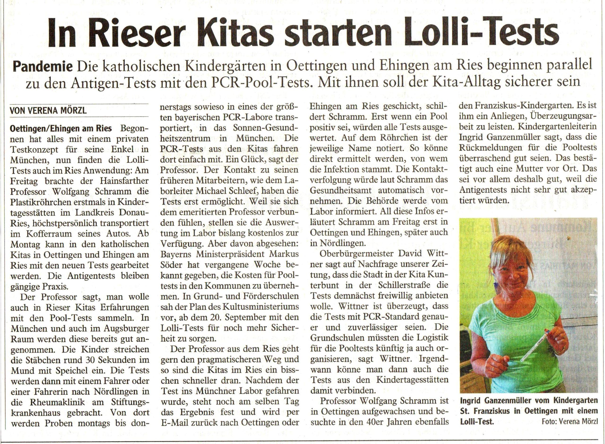 PCR-Test Kita Oettingen und Ehingen